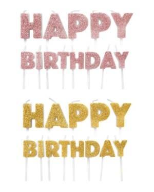 """Kakelys (13stk): """"Happy Birthday"""" - 5,5-7,5cm"""