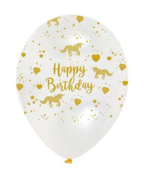 """Lateksballonger (6stk): """"Happy Birthday"""" - Glitrende Enhjørning - 28cm"""