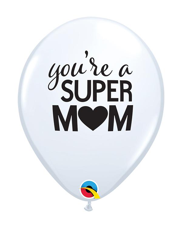"""Lateksballonger (25stk): """"You're a Super Mom"""" - 28cm"""