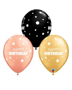 """Lateksballonger (25stk): """"Happy Birthday"""" - 28cm"""