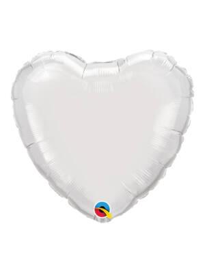 Folieballong: Hjerte - Hvit - 23cm