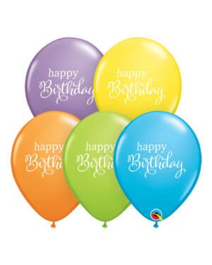 "Lateksballonger (25stk): ""Happy Birthday"" - Assortert - 28cm"
