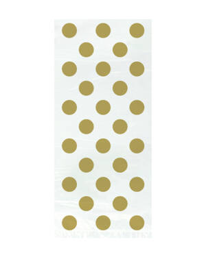 Godteposer (8stk): Cellofan med Gull Prikker - 28 x 13cm