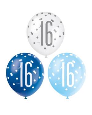 """Lateksballonger (6stk): """"16"""" - Blå & Sølv Glitz - 30cm"""