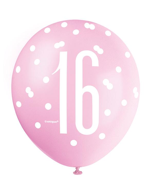 """Lateksballonger (6stk): """"16"""" - Rosa, Lilla, Hvit & Sølv - 30cm"""