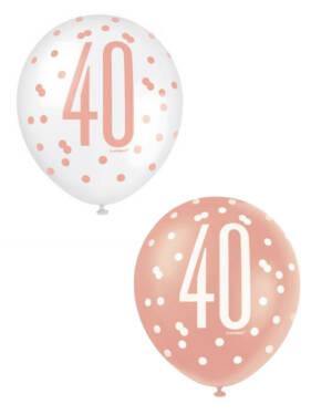 """Lateksballonger (6stk): """"40"""" - Hvit, Fersken & Rosegull - 30cm"""