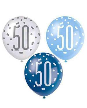 """Lateksballonger (6stk): """"50"""" - Hvit, Blå & Sølv - 30cm"""