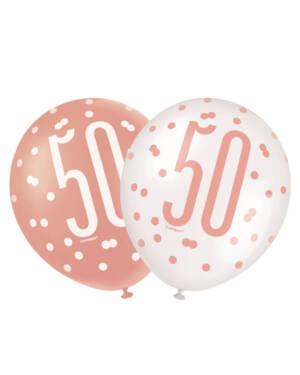 """Lateksballonger (6stk): """"50"""" - Hvit, Fersken & Rosegull - 30cm"""