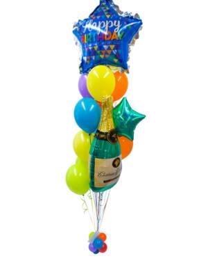 "Ballongbukett: ""Happy Birthday"" with Champagne"