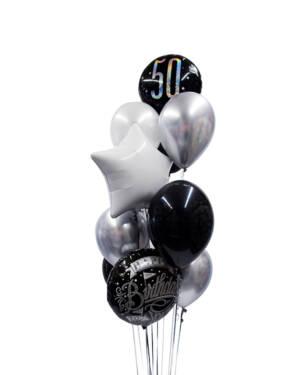 Ballongbukett: Black & Silver 50