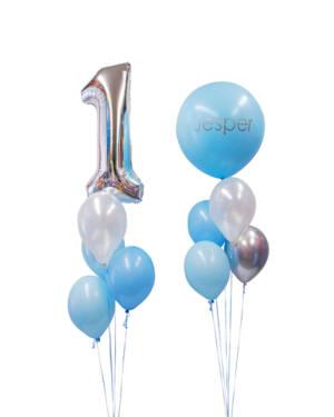 """Ballongbukett (Dobbel): """"1"""" Blue Pastel"""