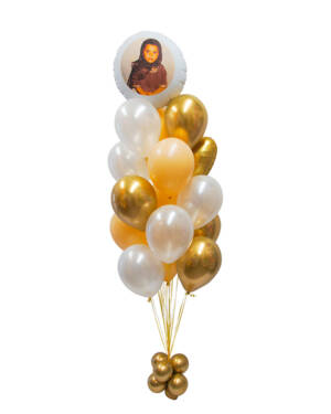 Ballongbukett: Person bilde gullbukett