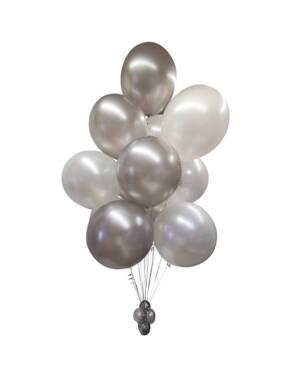 Ballongbukett: Jumbo Silver & White