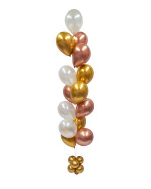 Ballongsøyle: Gold Chrome & White