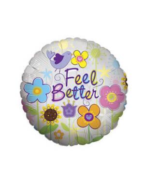 """Folieballong: """"Feel Better"""" - Blomster - 45cm"""