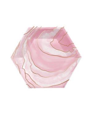 Tallerken (8stk): Sekskantet - Marmor - 20cm