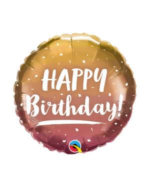 "Folieballong: ""Happy Birthday"" - Rosegull (Ombre) - 43cm"