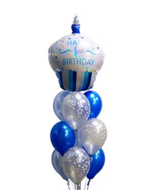 Ballongbukett: 1st Cupake Birthday - Blue