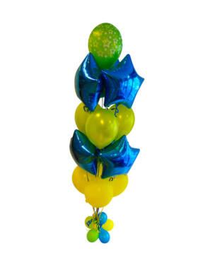 Ballongbukett: Blå & Grønn Stjernebukett