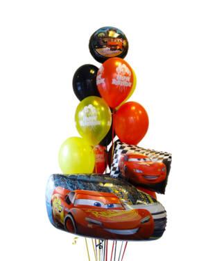 Ballongbukett: Cars - Svart & Gul