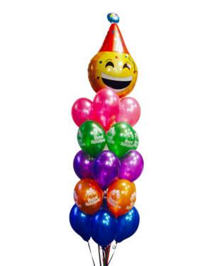 Ballongbukett: Smilende Bursdag