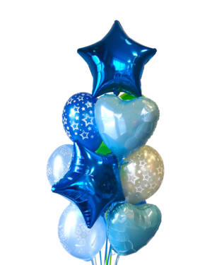 Ballongbukett: Stars and Hearts - Blue
