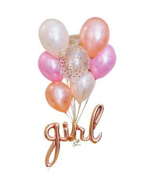 Ballongbukett: Pastel baby girl bundle