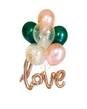 Ballongbukett: Green and peach love bundle
