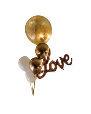 Ballongbukett: Jumbo Gold and rosegold love bundle