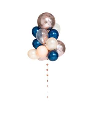 Ballongbukett: Rosegold and midnight blue orb bouqet