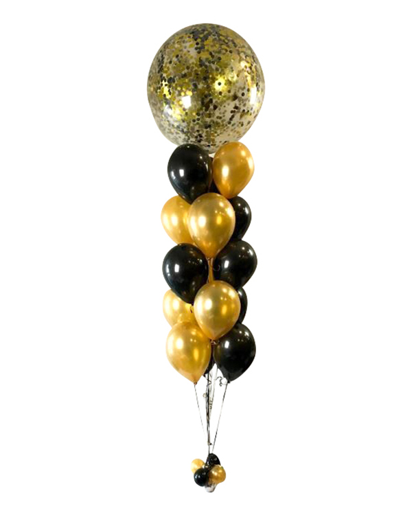 Ballongbukett: Jumbo Black and gold confetti bouquet