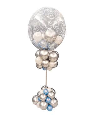 Centrepiece: Silver & Baby Blå