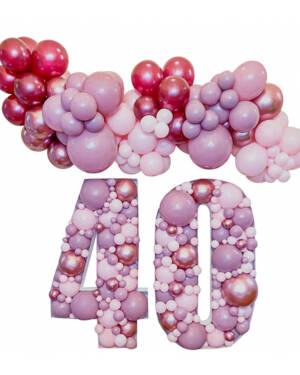 Mosaikk tall & Organisk klase / bue: Pink and purple 40