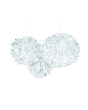 Hengende Dekor / Pomponger (3stk): Hvit snø