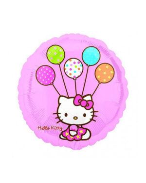 Folieballong: Hello Kitty med Ballonger - 45cm