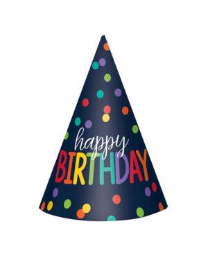 """Festhatter (12stk): """"Happy Birthday"""" - Fargerike prikker"""