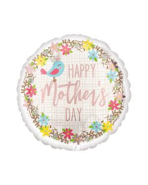 "Folieballong: ""Happy Mother's Day"" med fugler - 43cm"