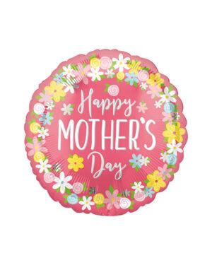 """Folieballong: """"Happy Mother's Day"""" med blomster - 43cm"""