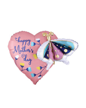 """Folieballong / Multiballong: """"Happy Mother's Day"""" Hjerte - Sommerfugler - 66 x 60cm"""