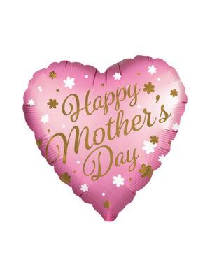 "Folieballong: ""Happy Mother's Day"" Hjerte - Satin Infused - 71cm"