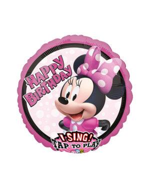 """Syngende Folieballong / Folieballong med musikk: """"Happy Birthday"""" Minni - 71cm"""