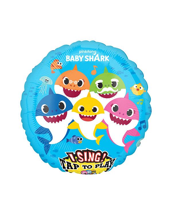 Syngende Folieballong / Folieballong med musikk: Baby Shark - 71cm