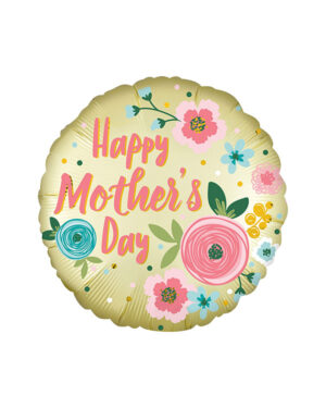 "Folieballong: ""Happy Mother's Day"" - Satin Pastel Yellow - 45cm"