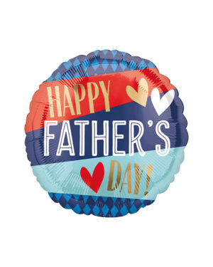 """Folieballong: """"Happy Father's Day"""" Stripes and Argyle - 45cm"""