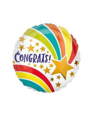 """Folieballong: """"Congrats"""" Shooting Star - 45cm"""