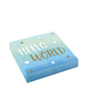"""Servietter (16stk): """"Hello World"""" / Oh baby Hjerter og stjerner ombre blå - 16,5cm"""