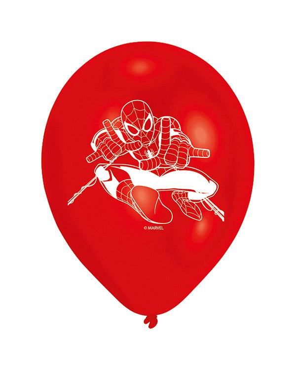 Lateksballonger (6stk): Spiderman - 23cm