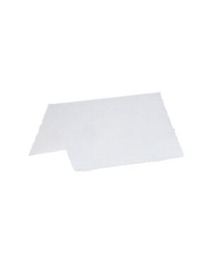 Bordkort (10stk): Hvitt bomullspapir - 8 x 5cm