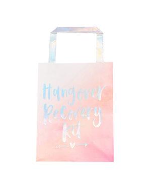 """Gavepose (5stk): """"Hangover Recovery Kit"""" - Rosa & Iriserende - 20 x 15cm"""