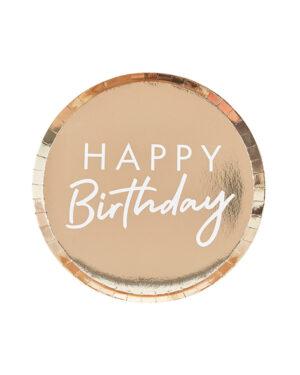 "Tallerken (8stk): ""Happy Birthday"" - Gull - 24cm"